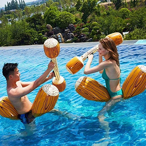 HAOFENG Inflatable Pool Floats Pool Party Play Boat Raft Collision Toys Wood Grain Seat Mounts Water Swimming Floating Row for Kids/Adults Max Weight 60KG 2 Sets