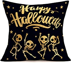 Asamour Halloween Skull Pillow Covers Cotton Linen Black Style Happy Halloween Greeting Quote with Funny Skull Dancing Skeleton Design Throw Pillow Case Decorative Cushion Cover 18''x18'',Golden Stars
