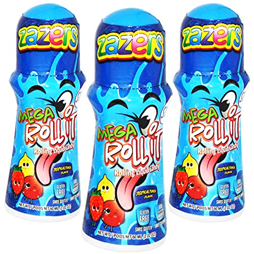 Sour Rolling Liquid Licker Candy - 3 Pack of 2.03 OZ Roll-It Bottles Tropical Punch flavor - Gluten-Free and No Coloring Added, (Kosher NET WT 6.6 OZ, 180ml )