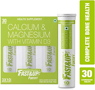 Fast&Up Fortify Calcium Supplements with High Elemental Calcium, Vitamin D3,K,C for Bone Health - 30 Effervescent Tablets - Lime&Lemon Flavor