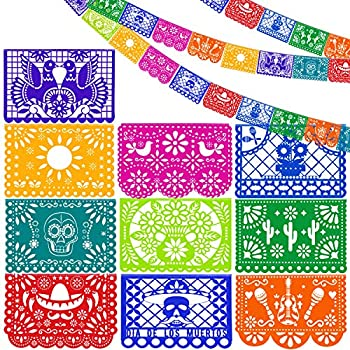 Aneco 6 Pack Mexican Party Banners Mexican Fiesta Hanging Banners Flags Mexicano Large Plastic Papel Picado Banner for Party Decorations Supplies