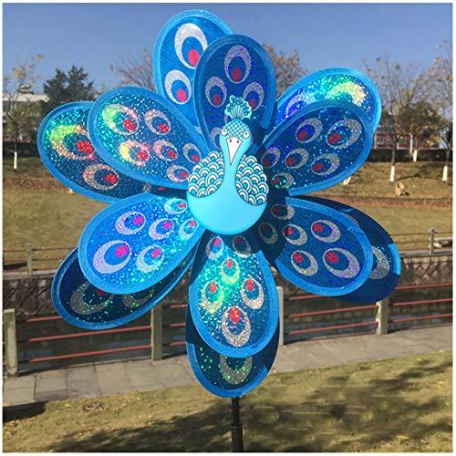 ECMQS doppel große pfau pailletten windmühle kreative dekorative windmühle, Outdoor dekoration kinder pädagogisches spielzeug (Blau)
