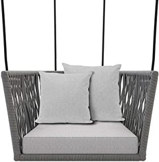 Outdoor Swing Chair Hammock Rope Hanging Seat with Cushions and Two Pillows (Light Khaki)