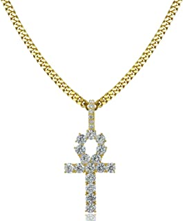 TOPGRILLZ 14K Gold Plated Iced Out CZ Lab Diamond Ankh Cross Egyptian Pendant for Men and Women with 24
