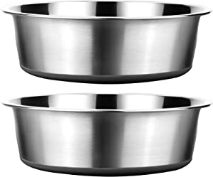Stainless Steel Metal Dog Bowls (Pack of 2) | Non-Slip Rubber Bottom Design | Ideal Food & Water Bowls Set for Small, Medium, and Large Sized Dogs Breed