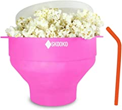 Microwave Popcorn Popper Bowl | + BONUS GIFTS : Reusable Silicone Straw & Cleaning Brush | Healthy PopCorn |100% Silicone ...