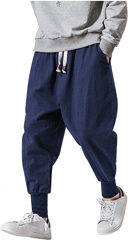 Sweatpants for Men Jogger Elastic Waist Boho Yoga Linen Pants Drop-Crotch Hippie Casual Trousers with Drawstring