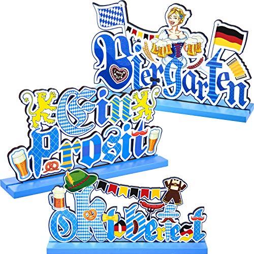 3 Oktoberfest Party Dekorationen Oktoberfest Tisch Tafelaufsatz Bayerisches Kostüm Holz Bier Schild Lederhosen Deutsches Festival für Oktoberfest Party Abendessen Bar Stufe Tablett