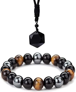 Triple Protection Bracelet Natural Hematite Black Obsidian Tiger Eye Stone Bracelets Handmade Healing Balance Bracelet,Bri...