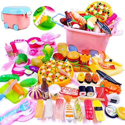 Atoyinn 67点 おままごと キッチン セット 子供 知育玩具 DIY 寿司 野菜 海鮮 ハンバーグ コンロ ままごと用調理器具 付け 親子遊び キッチン おもちゃ プレゼント 男の子 女の子 ままごと ごっこ遊び
