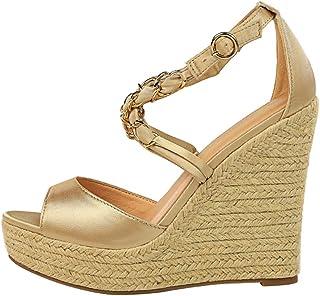 BeiaMina Women Fashion Wedge Heel Sandals Criss Cross Party Sandals Peep Toe