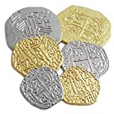 Beverly Oaks Lot of 6 Assorted Sizes Metal Pirate Treasure Coins - Shiny Gold and Silver Doubloon Replicas