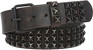 "Snap On 1 3/4"" Three Row Punk Rock Star Distressed Black Studded Leather Belt"