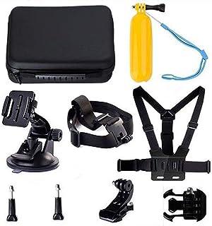 Navitech 9 i 1 actionkamera tillbehör kombo kit och robust grå förvaringsväska kompatibel med FITFORT actionkamera 4K WiFi...