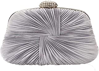 Superw Womens Pleated Satin Evening Handbag Clutch with Detachable Chain Strap Wedding Cocktail Party Bag (Color : Gray)