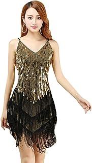 47c26963409 YiJee Femme Sequins Glands Robe de Danse Latine Samba Tango Sling Soirée  Robes