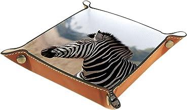 KAMEARI Skórzana taca zebra wzór klucz telefon moneta pudełko skóra bydlęca taca na monety praktyczne pudełko do przechowy...