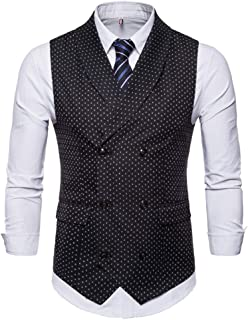 Mens Slim Fit Dress Vest Plaid/Stripes Formal Premium Button Down Vest Mens Vest Waistcoat
