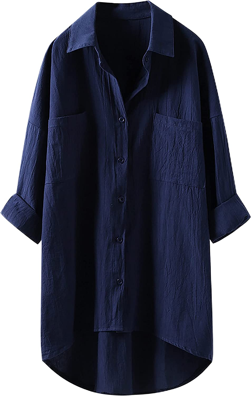 Bianstore Women's Oversized Linen Shirts Blouses Tops Long Sleeve High Low Button Up Shirts