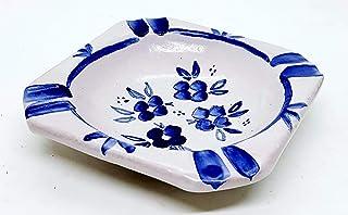 Posacenere Fiori Blu Realizzato e dipinto a mano Le Ceramiche del Castello Idea Bomboniera dimensioni 15 x 5 centimetri