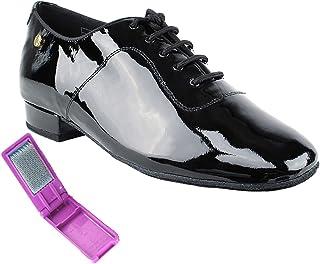 Very Fine Mens Salsa Ballroom Tango Latin Dance Shoes 917101 Bundle with Dance Shoe Wire Brush Heel 1