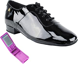 Very Fine Ballroom Latin Tango Salsa Dance Shoes for Men CD1427DB 1 Inch Heel + Foldable Brush Bundle