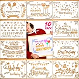 Konsait 10Pack Birthday Stencils Templates, Reusable Plastic Craft Drawing Painting Template for Painting on Wood,Greeting Cards, Albums, Scrapbook, Notebook, Journal, Wall Art, Cookie Home Decor