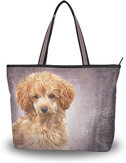 MyDaily Damen Schultertasche Spielzeug Pudel Welpe Hund Vintage Handtasche