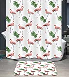 Ommda Duschvorhang Textil Wasserdicht Duschvorhang Anti-schimmel Pflanzen Digitaldruck Waschbar mit 12 Duschvorhang Ring 180x220cm(Keine Matten) Flamingos