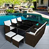 Panana 10 Seater Rattan Garden Furniture Set Dining Table and Chairs Stools Set Outdoor Patio and Conservatory Brown