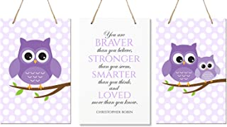"""LifeSong Milestones You are Braver Than You Believe 3 Piece Owl Childrens Wall Decor Signs for Kids, Bedroom, Nursery, Baby's Boys, Girls Room, Size 8"""" x 12"""" Proudly Made in USA (Purple)"""