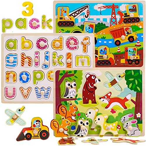Montessori Mama Pegged Wooden Puzzles for Toddlers 1-3 | 3-Pack Toddler Learning Toys for Toddlers 1-3 | Toddler Puzzles Ages 2-4 | Alphabet Puzzles for Kids Ages 3-5 | Gift for One Year Old and Up