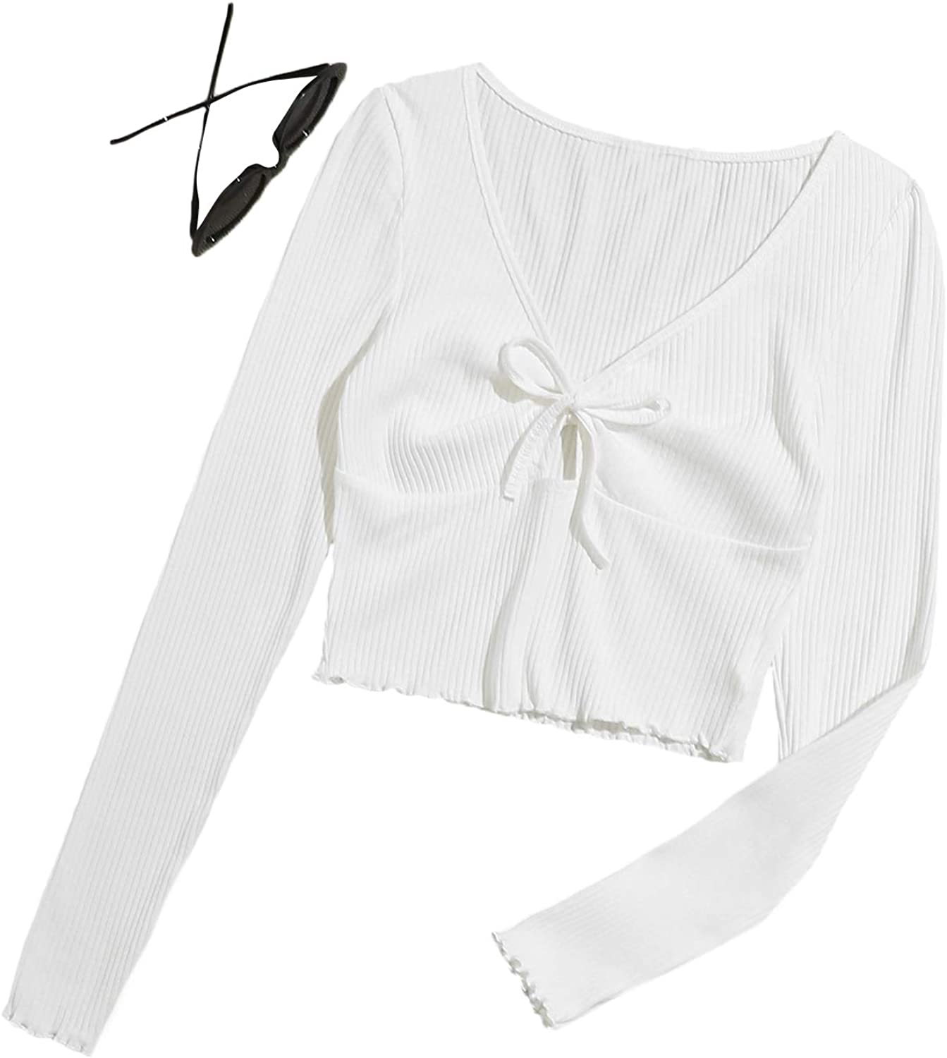 Romwe Women's Ribbed Knit Long Sleeve Scoop Neck Button Down Slim Fit Crop Tops Blouse