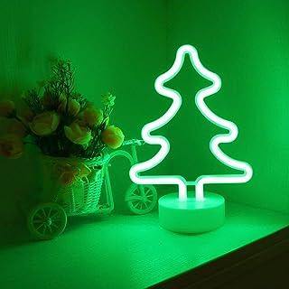Veilleuse à LED en Sapin de Noël - Neon signes Lampes avec base, Fonctionne avec piles ou USB Décoration lumineuse pour fê...