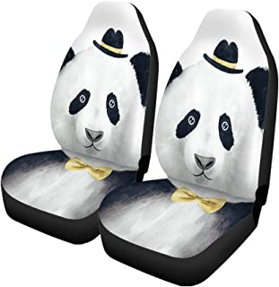 Semtomn Set of 2 Car Seat Covers Painting Watercolor Hipster Panda Drawing Animal Hat Doodle Bear Universal Auto Front Seats Protector Fits for Car,SUV Sedan,Truck