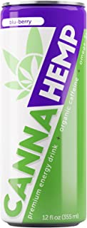 Canna Hemp Energy Drink – Blu-Berry, 40 calories – 12 Pack – Organic Energy – Omega-3s – All Natural Flavors, Colors and Sweeteners – 50 mg of REAL Hemp Seed oil – Vegan & Gluten Free!