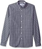 Lacoste Men's Long Sleeve with Pocket GinGHam Poplin Regular Fit Woven Shirt, Navy Blue/White, M