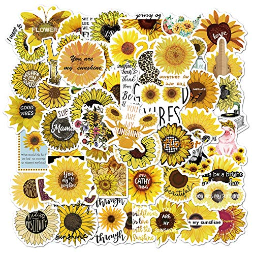 Sunflower Theme Stickers Laptop Aesthetic,Trendy Stickers for Teens,Girls Bike Skateboard Luggage Decal Graffiti Patches Decal 50 PCS (Sunflower)