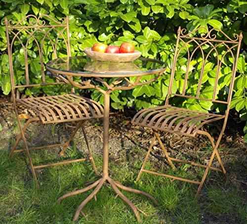 GeKi Trend Edles Bistroset 3 teilig aus Eisen Antik Jugendstil Garten Balkon Tisch mit Glasplatte und 2 Stühlen antikbraun hochwertig