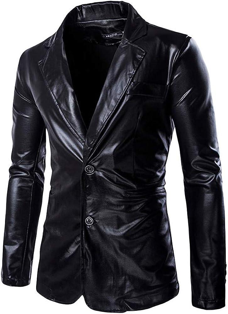 Allywit Mens Slim Fit Shiny Metallic Two Button Suit Jacket/Night Club Blazer