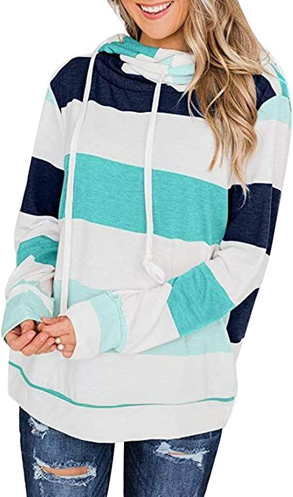 NREALY Tunic Womens Color Block Striped Sweatshirt Crewneck Long Sleeve Loose Pullover Tops