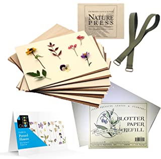Nature's Pressed Flower Press for Adults/Kids, Blotter Paper and Guide to Pressed Flowers