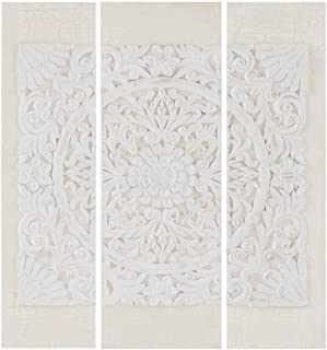 Madison Park White Mandala 3D Embellished Canvas Wall Art Modern Damask Design 3 Piece Set Multi Panel Stretched Abstract ...