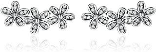 Ear Crawler Earrings 925 Sterling Silver Clip on Earrings Antique Black Daisy Flowers Crawler Earrings for Women Teen Girls Thanksgiving Christmas Day Gifts