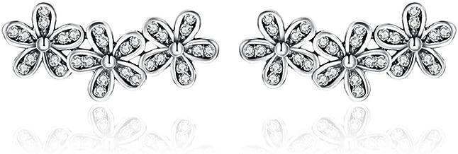 BAMOER Ear Crawler Earrings 925 Sterling Silver Clip on Earrings Antique Black Daisy Flowers Crawler Earrings for Women Teen Girls Thanksgiving Christmas Day Gifts