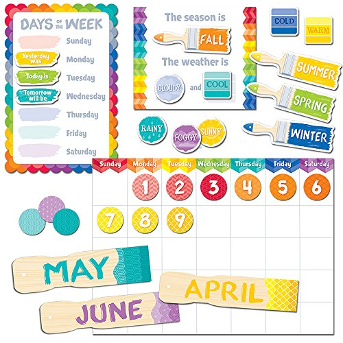 Creative Teaching Press Painted Palette Calendar Set Bulletin Board (Room Displays and Decoration for Classrooms, Learning Spaces and More)