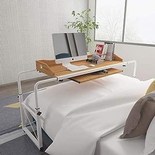 HomeSailing Mobile Overbed Computer Table Workstation with Wheels Pullout Keyboard Large Adjustable Rolling Desk for King Size Double Bed Bedroom Medical Hospital Usage