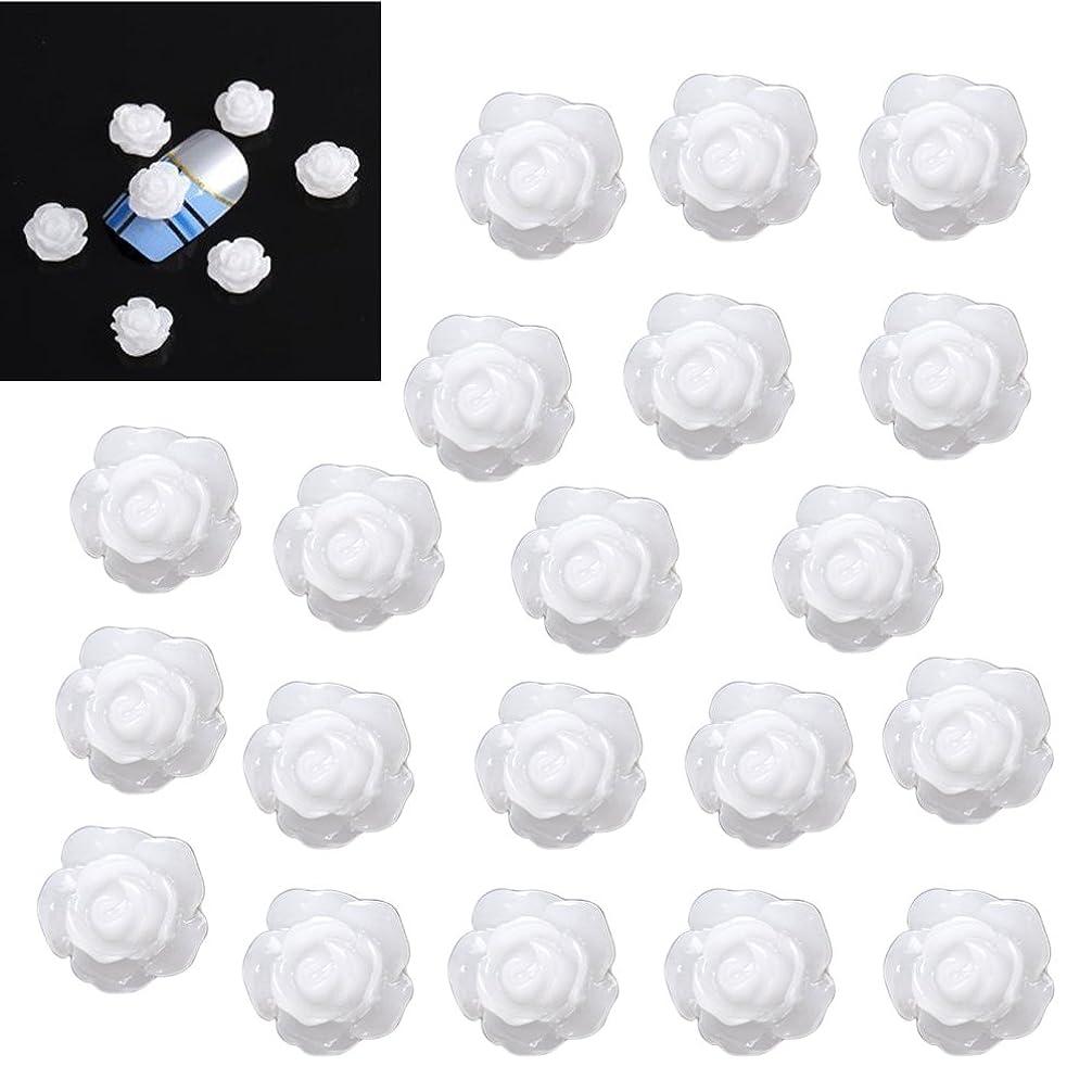 カロリー冷ややかな浸透するSODIAL(R)20×アクリル 3D 白い花 スライスネイルアートヒント UVジェル DIYデコレーション