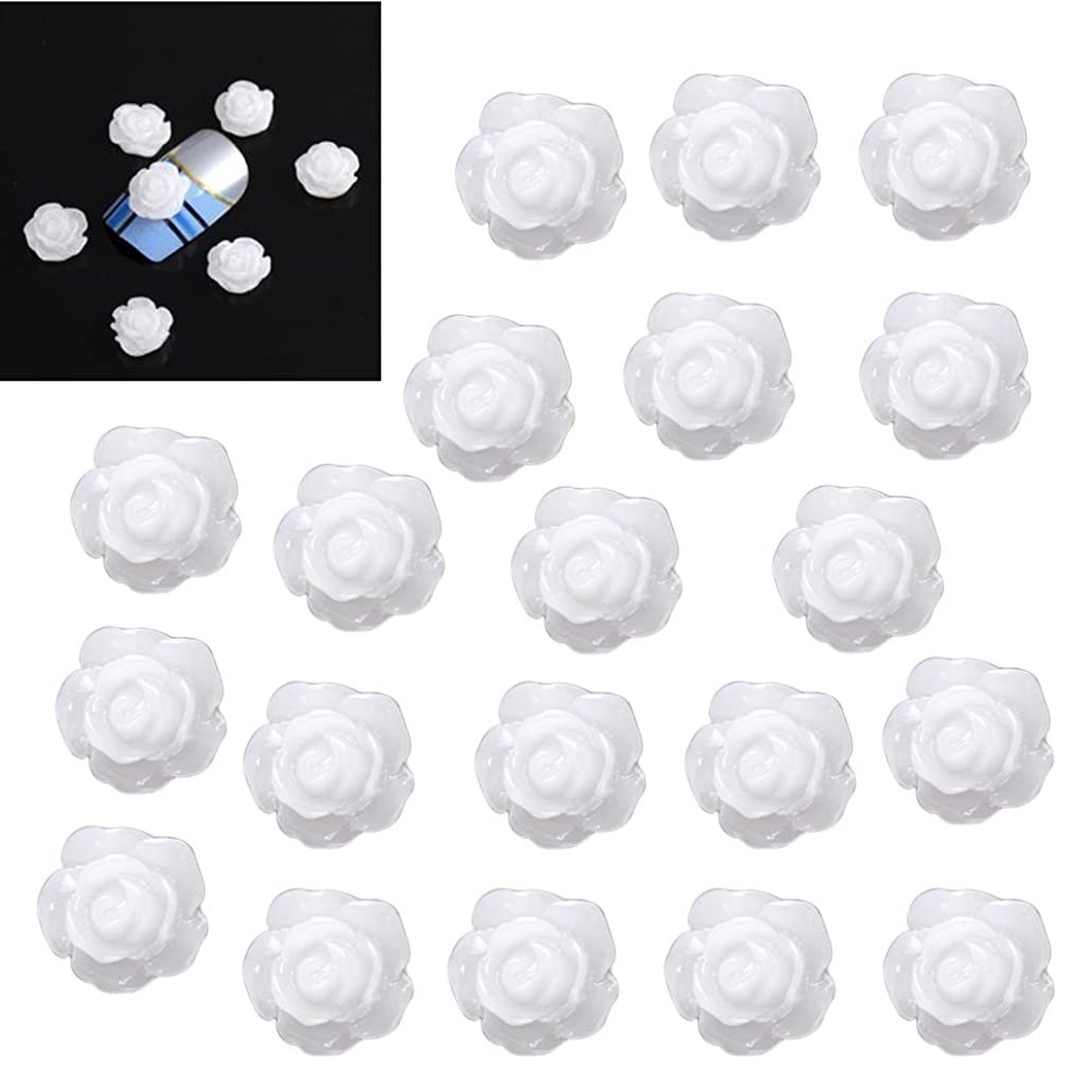 有害な教室古いSODIAL(R)20×アクリル 3D 白い花 スライスネイルアートヒント UVジェル DIYデコレーション