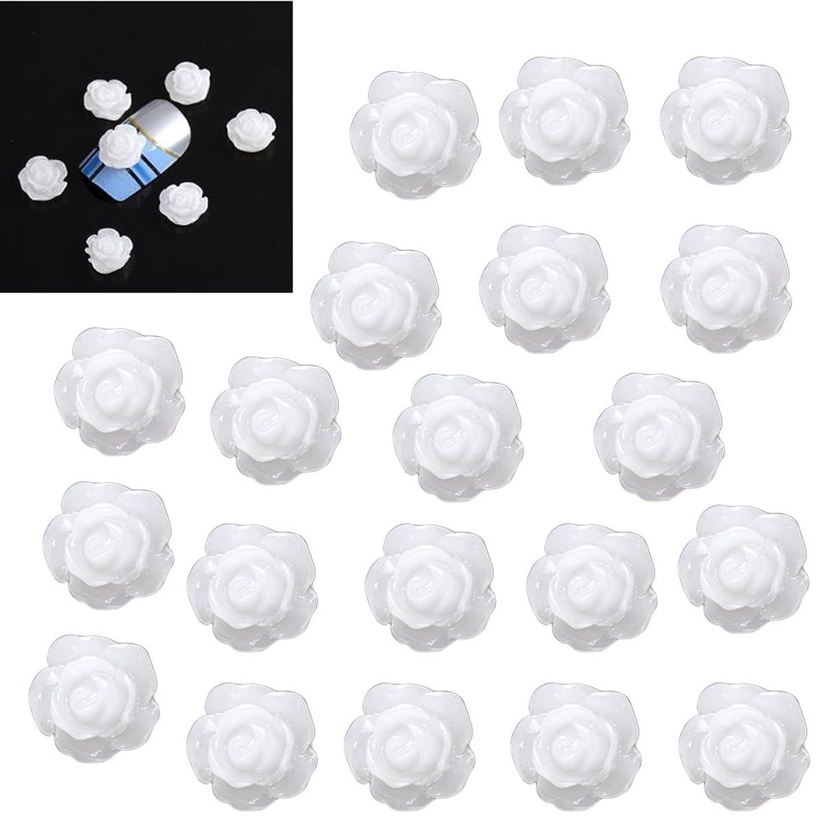 牛苗成人期SODIAL(R)20×アクリル 3D 白い花 スライスネイルアートヒント UVジェル DIYデコレーション
